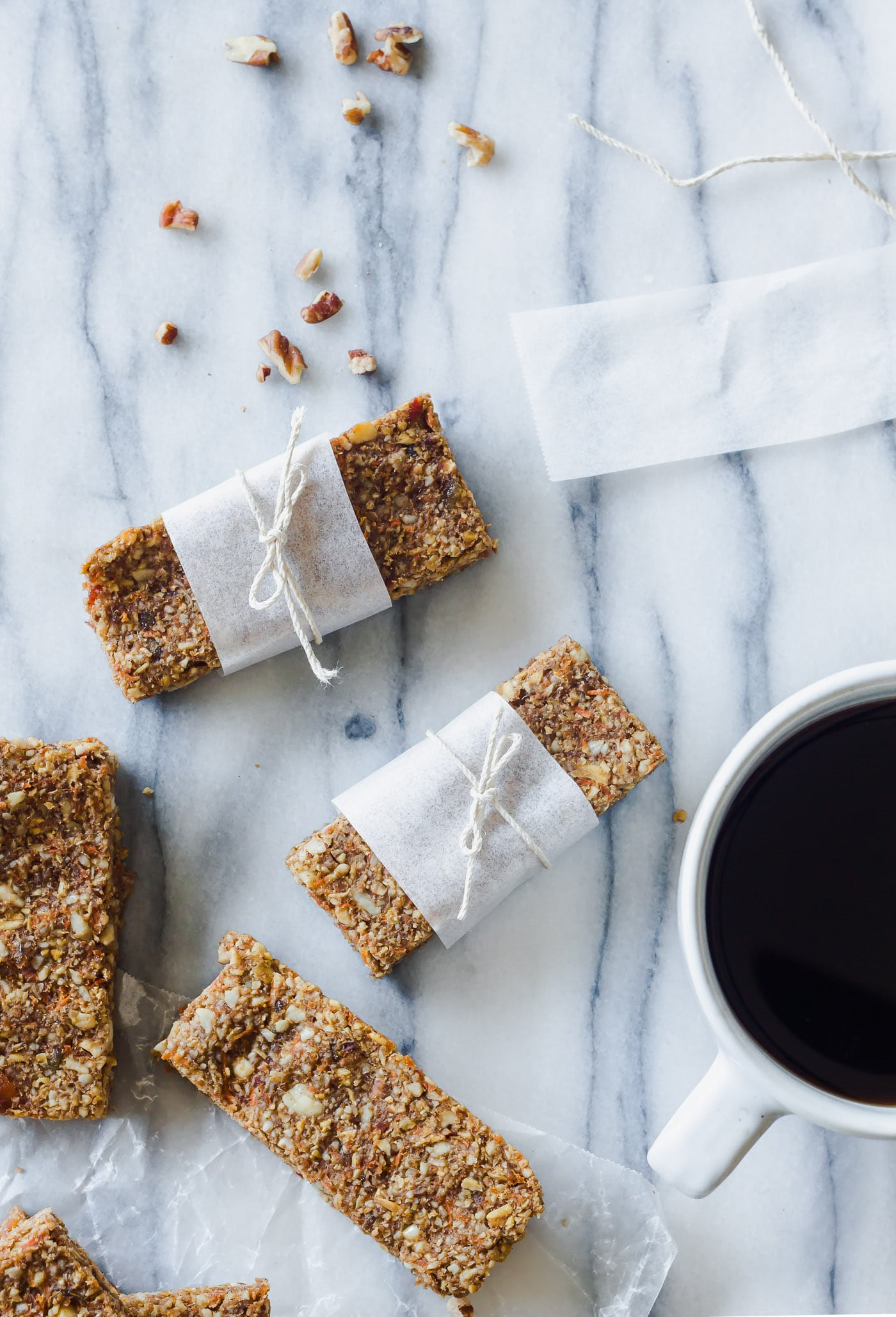 Carrot Cake Breakfast Bars wrapped with twine and parchment