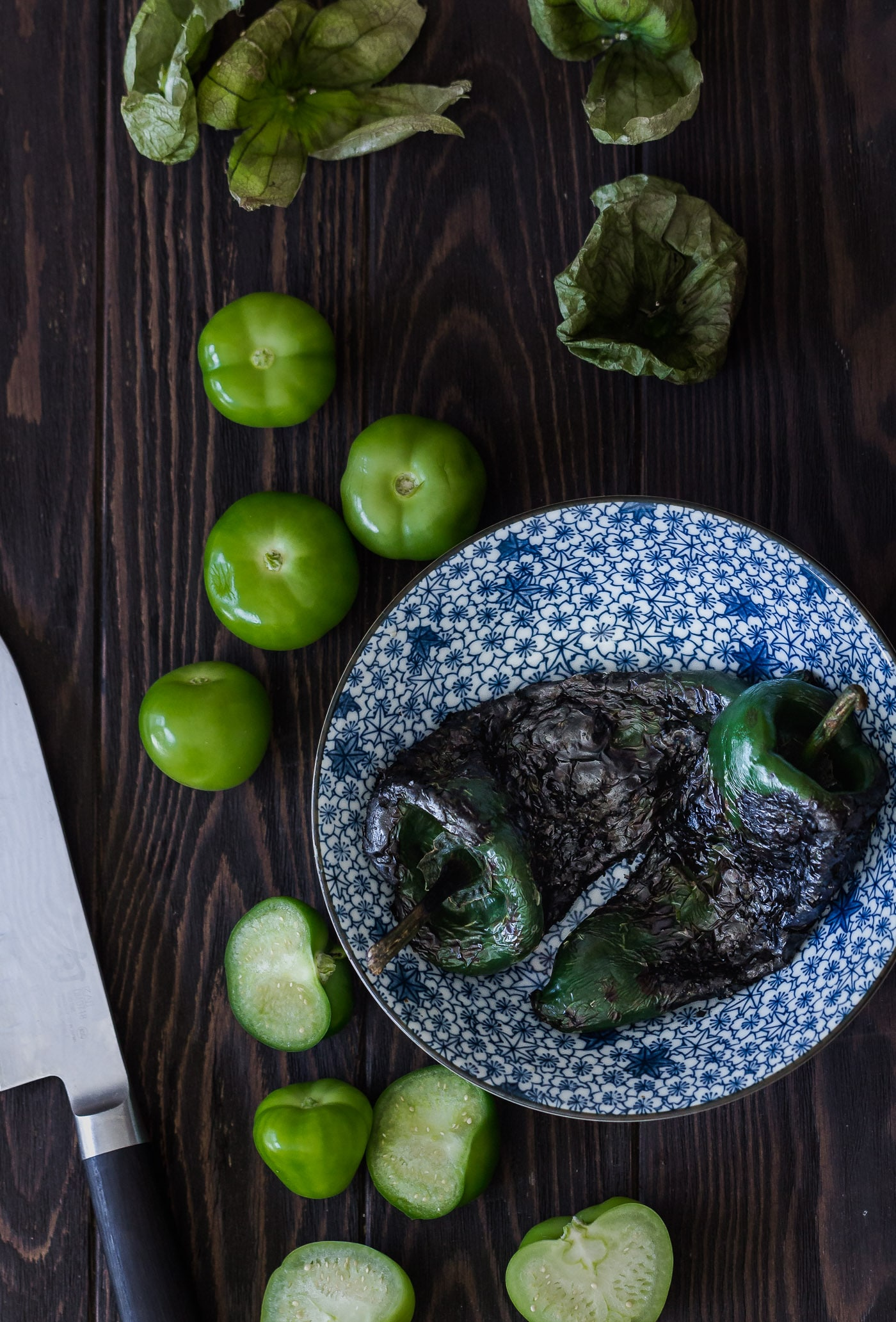 roasted poblano peppers and tomatillos for Farro and White Bean Posole Verde
