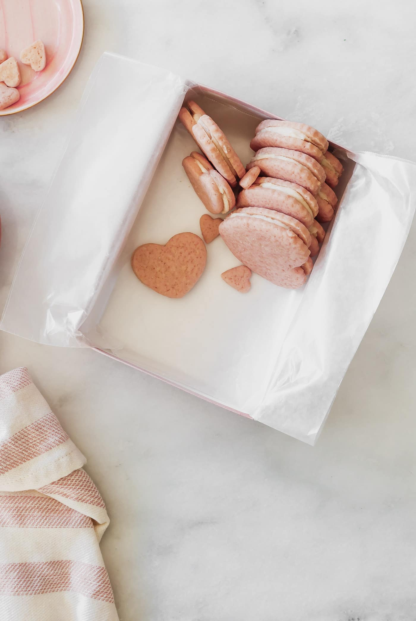 Heart Shaped Sandwich Cookies in a pink box