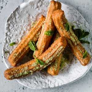 Matcha Mint Churros on a plate