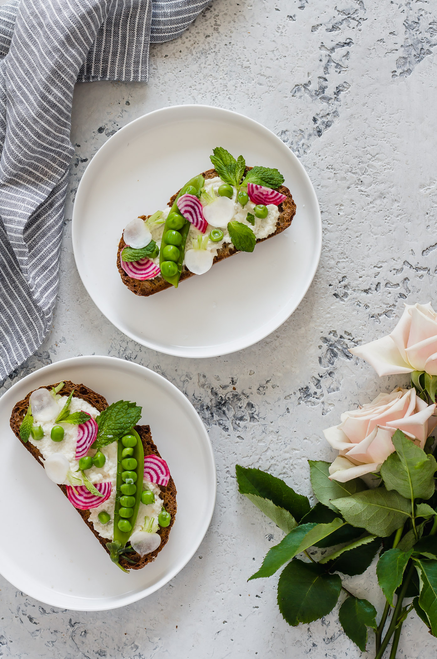 two Spring Vegetable Crostini with macadamia ricotta