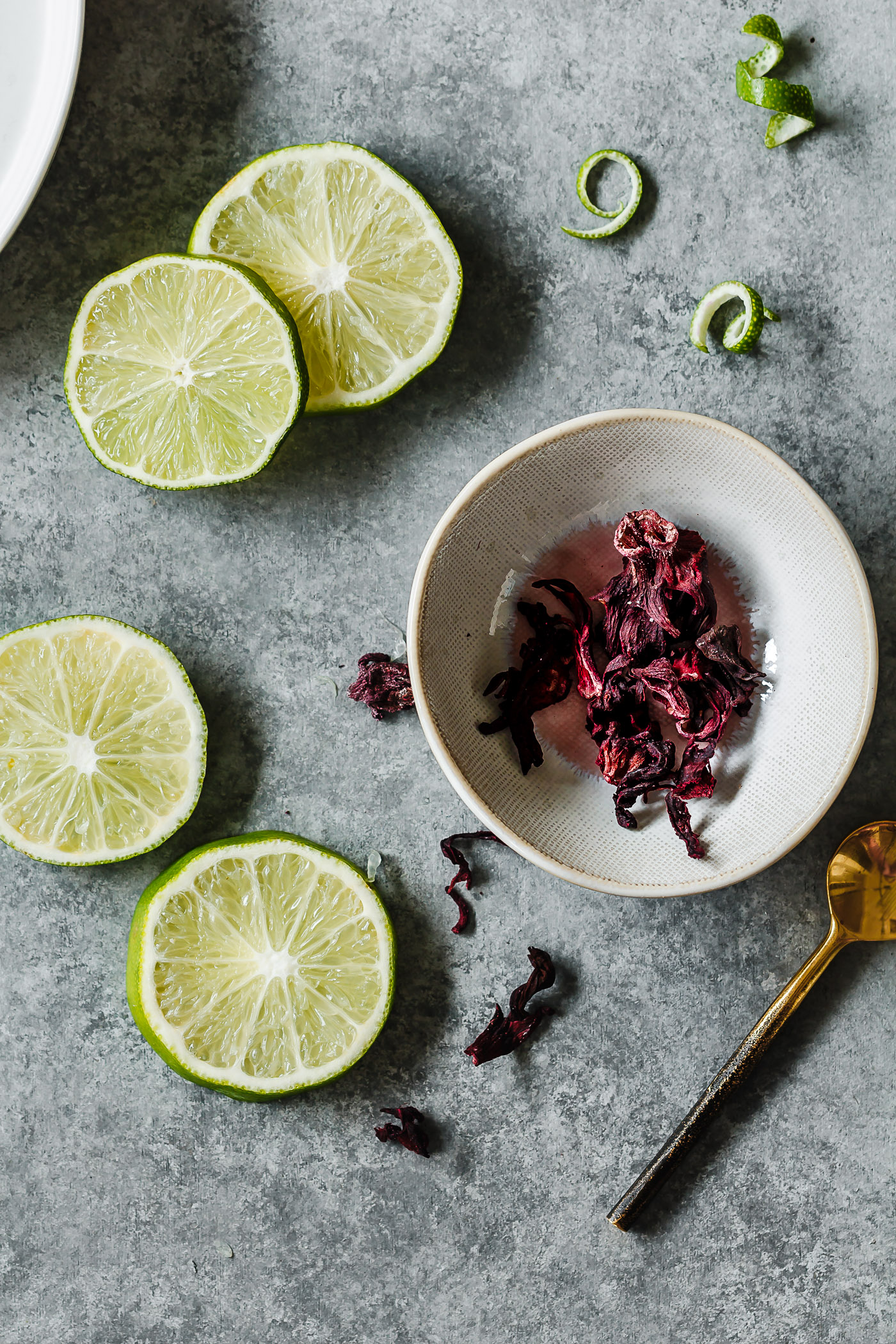hibiscus petals and lime