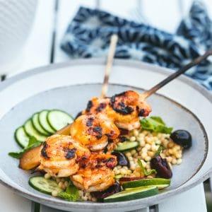 Harissa Honey Glazed Shrimp Skewers