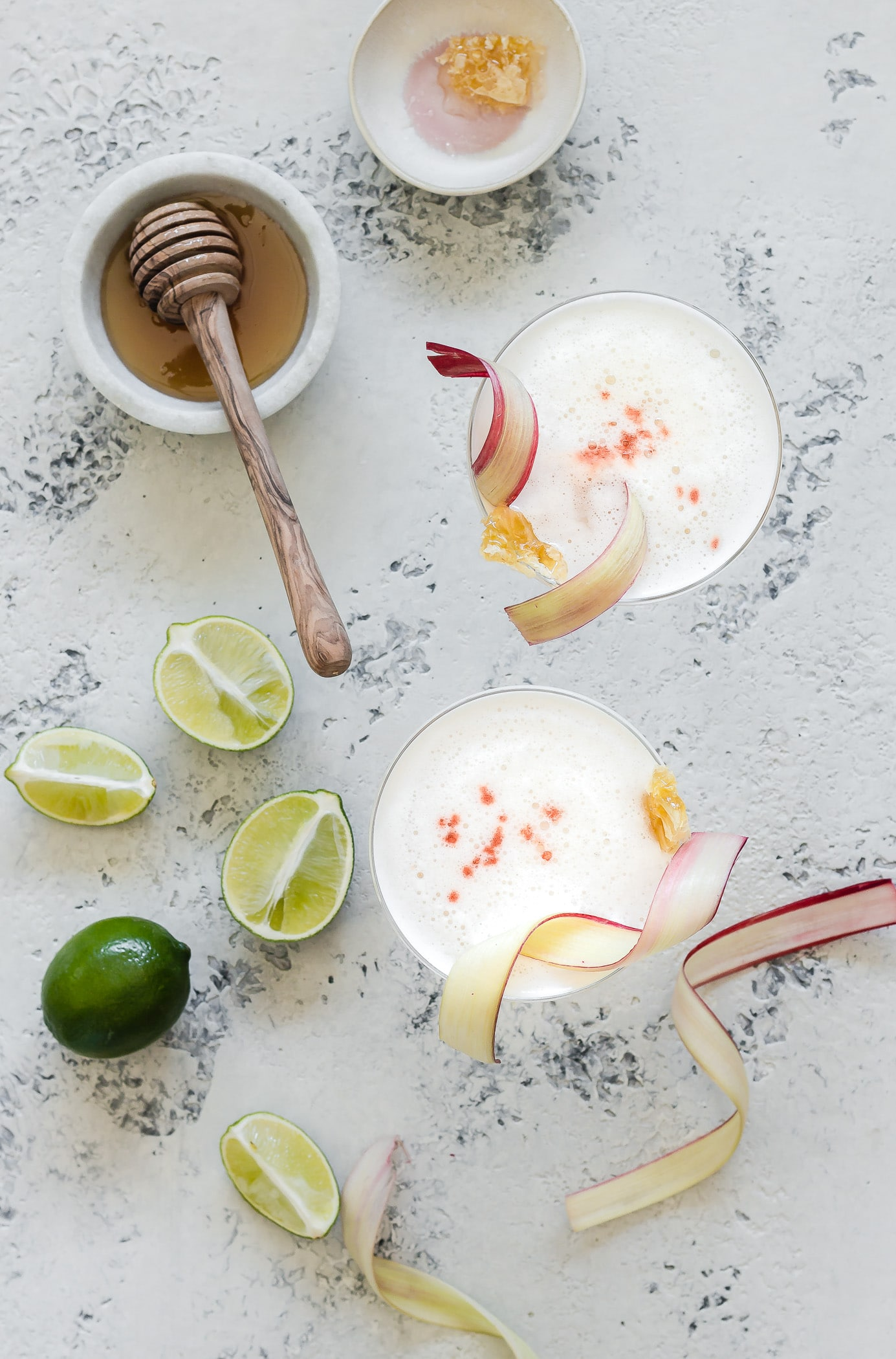 Rhubarb Honey Pisco Sour