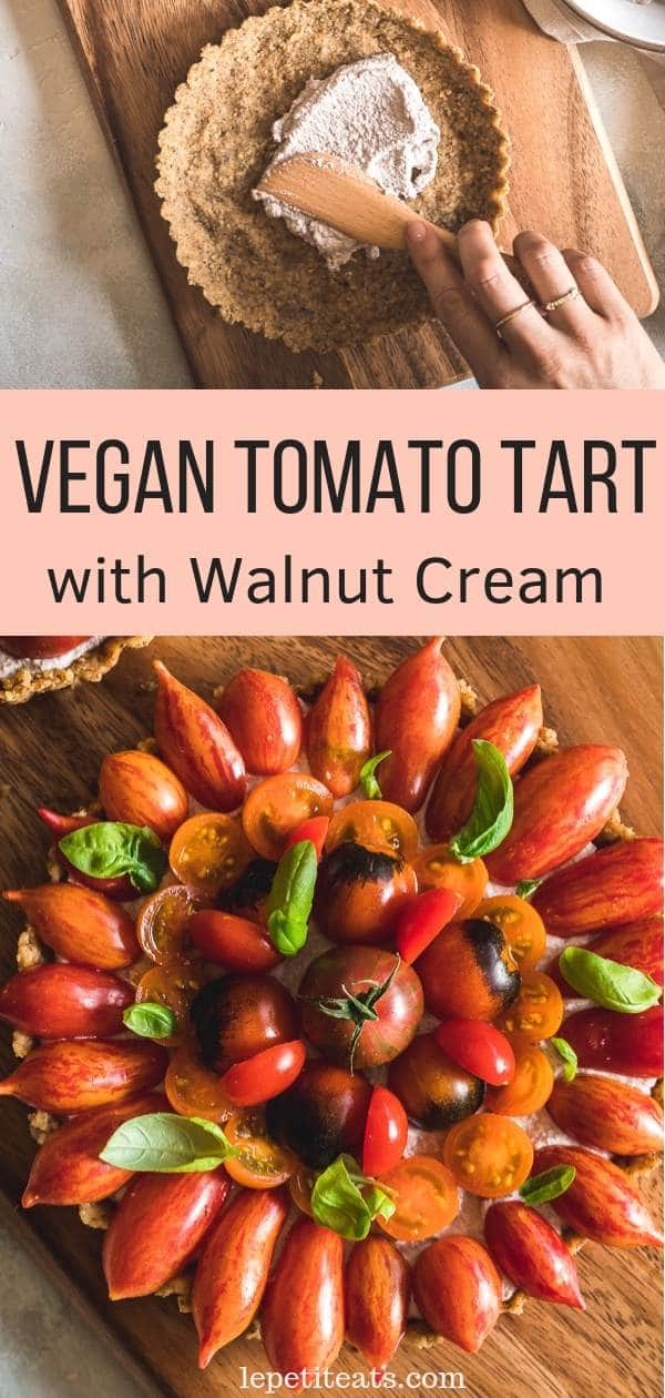 Vegan Tomato Tart with Herbed Walnut and Pine Nut Crust | An easy dairy-free Tart made with an herby walnut and pine nut crust and filled with a rich walnut cream then topped with an array of tomatoes! This easy yet elegant tart recipe is vegan, low carb and almost raw. The perfect recipe for a healthy appetizer or brunch buffet! #appetizer, #veganrecipes