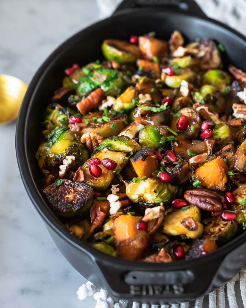 Brussels Sprout Hash with pomegranates and pecans