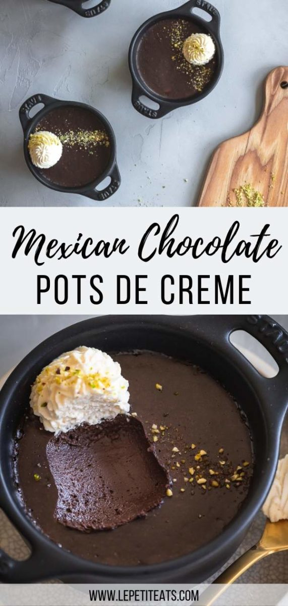 These indulgent Mexican Chocolate Pots de Creme are totally vegan! They're made with coconut cream, cacao and warm Mexican spices. The perfect chocolate dessert for Valentine's Day #dessert, #vegandesserts
