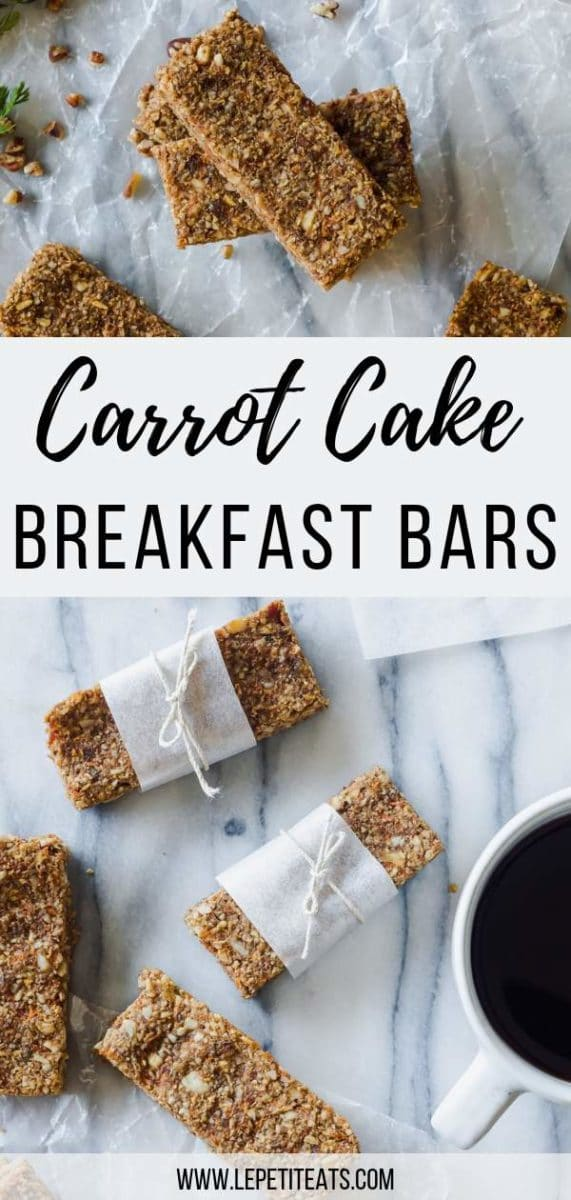 Carrot Cake Breakfast Bars with Maple Coconut Icing - these easy homemade breakfast bars are perfect for a mid morning snack or on-the-go breakfast!So much healthier than storebougth granola bars #vegan, #breakfast