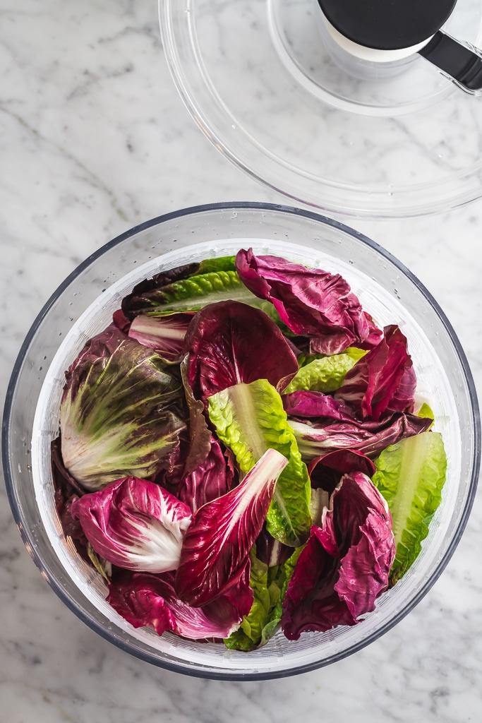 chicory lettuces in a salad spinner