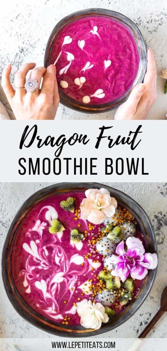 This tropical Vegan Pink Dragon Fruit Smoothie is loaded with antioxidants and omega 3 from superfood chia seeds and hemp seeds. A swirl of plant-based vanilla yogurt gives this easy and healthy vegan breakfast bowl a pretty finishing touch. #vegan #healthyrecipes