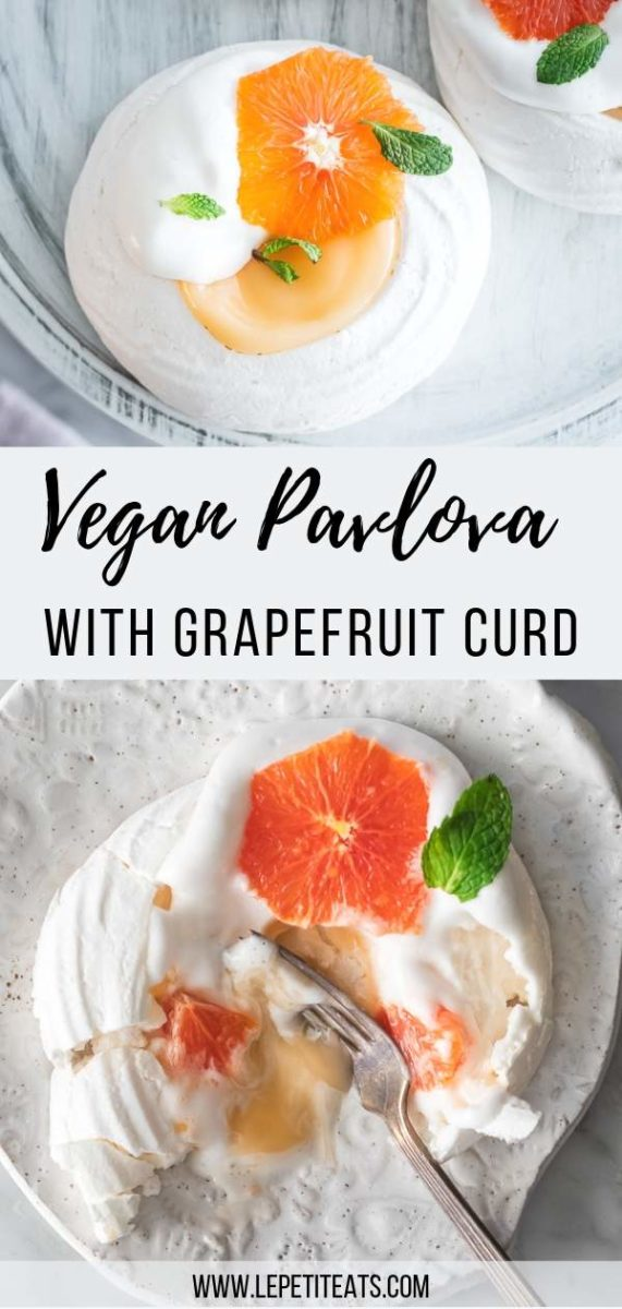 This vegan pavlova is made with aquafaba, filled with a plant-based grapefruit curd and topped with fresh citrus slices and mint. #veganrecipes #vegandessert