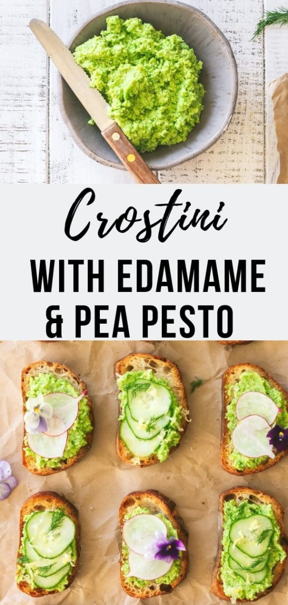 Vegan Edamame & Pea Pesto Crostini / Celebrate the flavors of spring with Vegan Edamame and Pea Pesto Crostini, a flavorful combination of mashed edamame and peas served over crusty bread and topped with seasonal toppings like cucumber and radish. The perfect appetizer or fingerfood for a brunch buffet #appetizer #veganrecipes #pesto #brunch