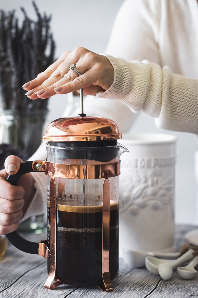 coffee in a copper french press