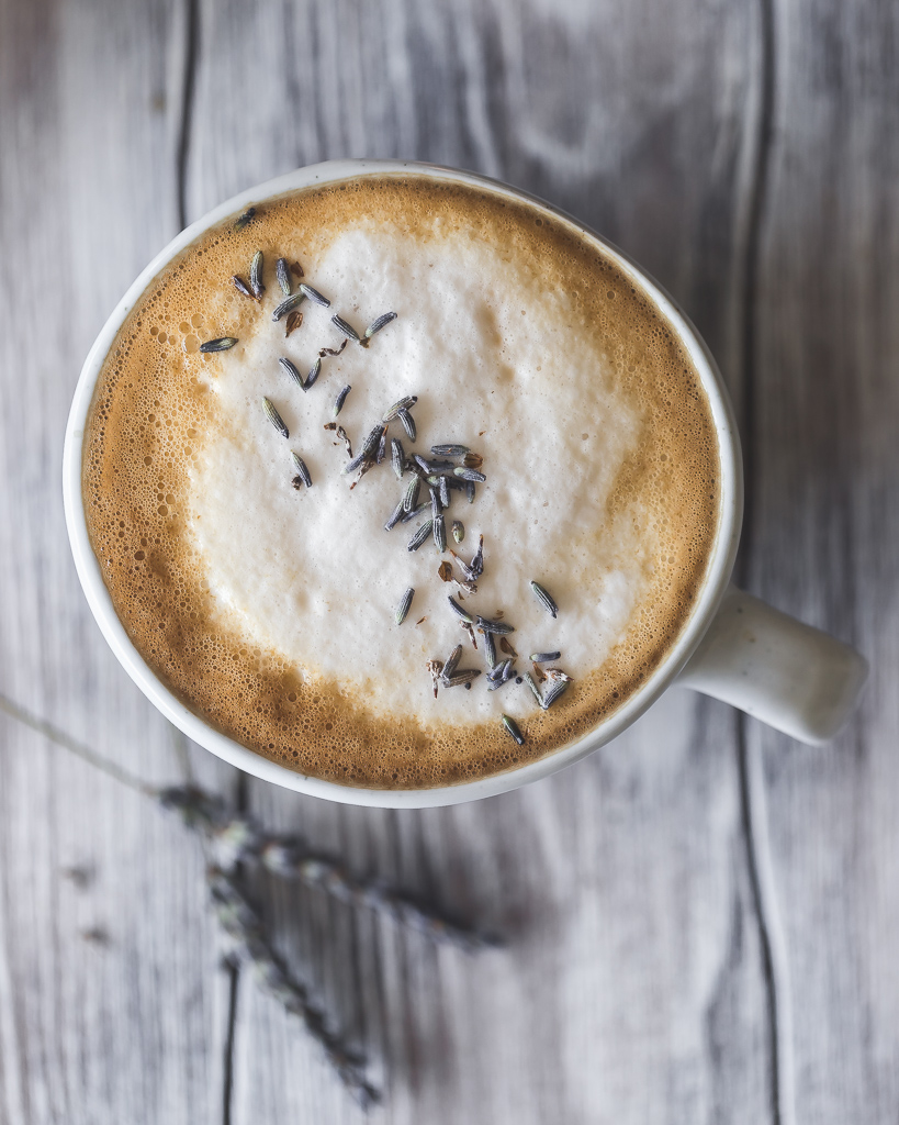 Lavender Latte with oat milk foam and dried lavender buds