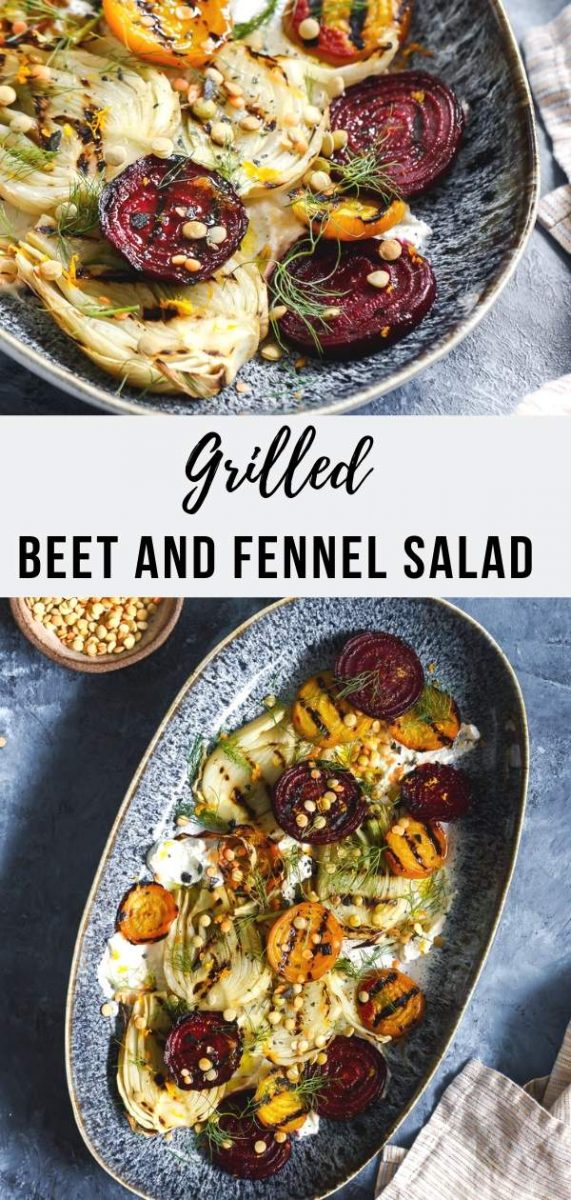 This hearty and flavorful vegan grilled beet and fennel salad recipe with sprouted lentils is accented with a dairy-free plant-based coconut yogurt scented with cumin and orange. #saladrecipes #veganrecipes