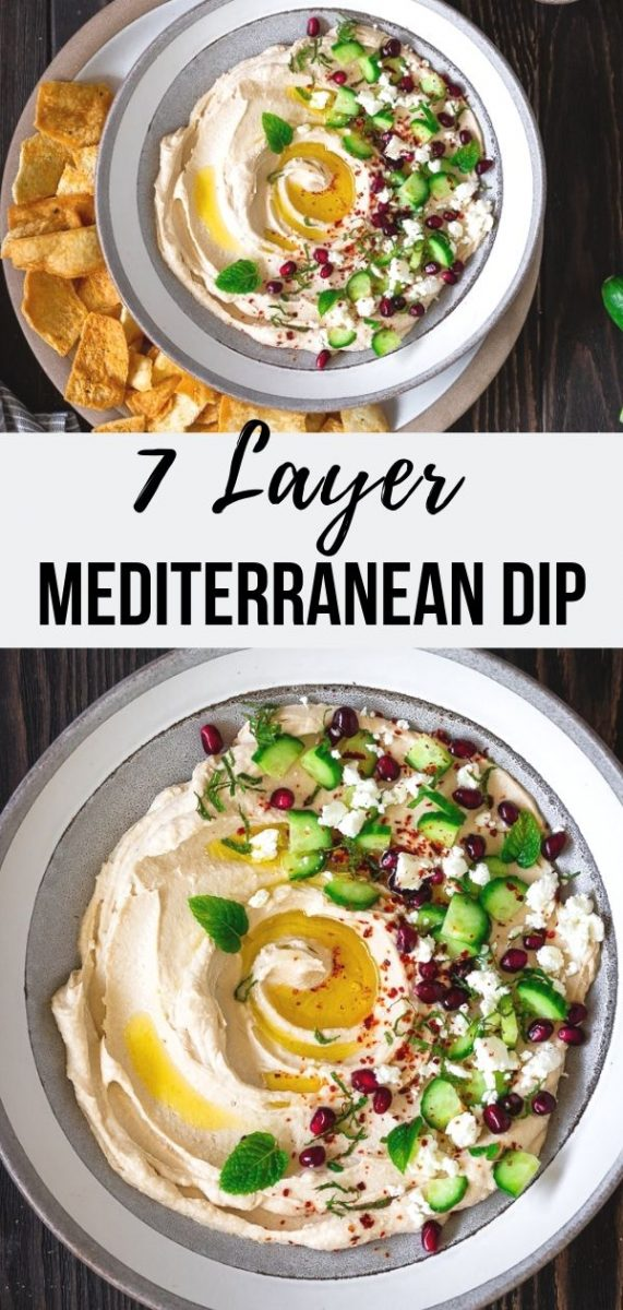7 Layer Mediterranean Dip | The only thing better than how incredible this Seven Layer Mediterranean Hummus Dip tastes is how quickly it comes together! In less than ten minutes, you'll have a wonderful meatless appetizer ready that makes a lasting impression. #dip #appetizer #tailgaiting #tvsnack #hummus