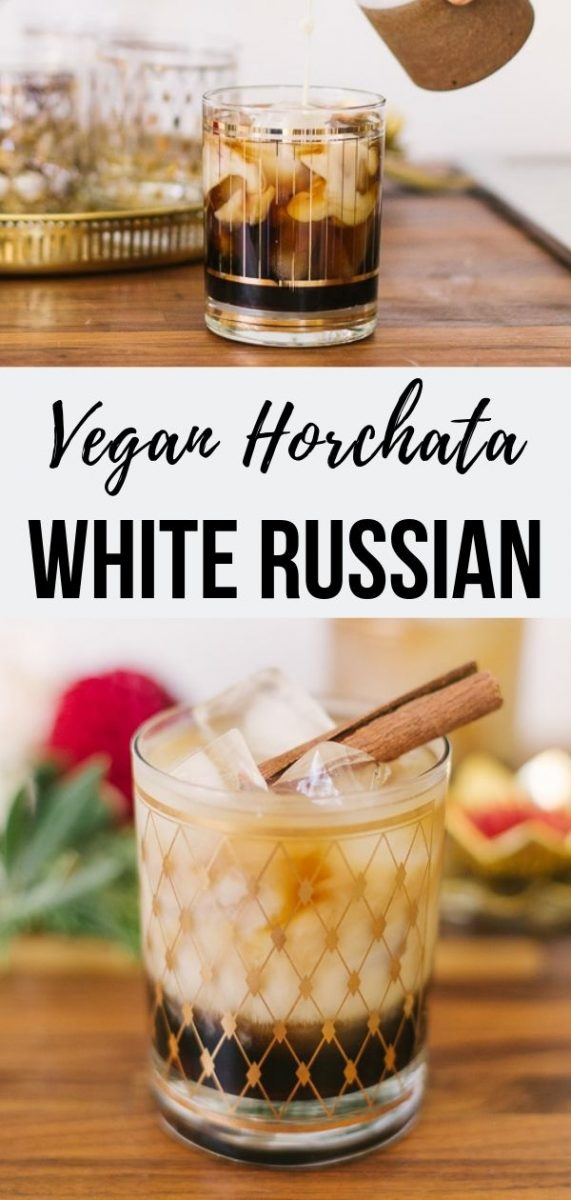 Enjoy this refreshing Horchata White Russian cocktail recipe - a lighter take on a traditional cream based cocktail, simply swapping out the heavy cream for homemade Mexican horchata made from scratch. Perfect for Easter brunch or Mother's Day #cocktails #drinks #veganrecipes #cocktailrecipes