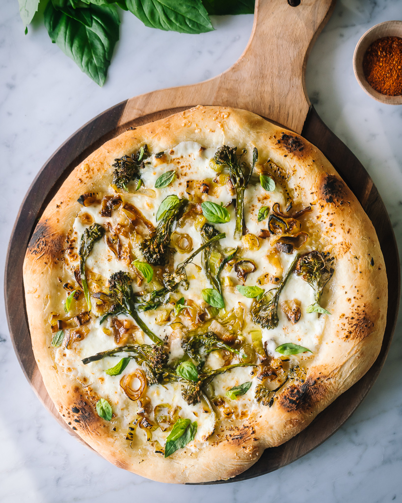 broccolini & leek pizza