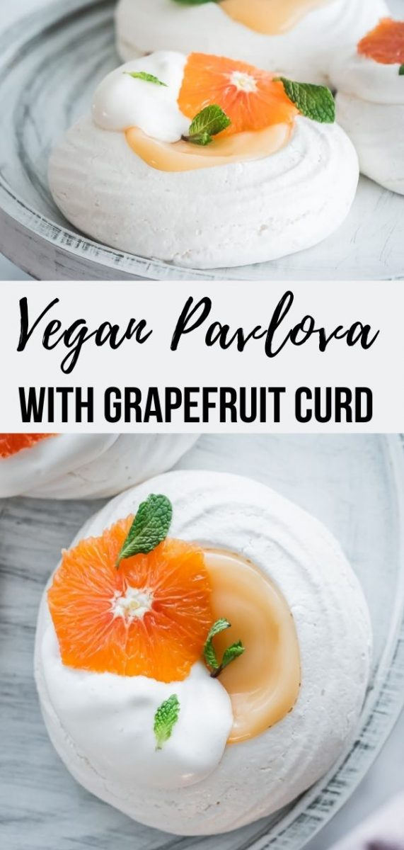 This vegan pavlova is made with aquafaba, filled with a plant-based grapefruit curd and topped with fresh citrus slices and mint. #veganrecipes #desserts #aqafaba #summerrecipes
