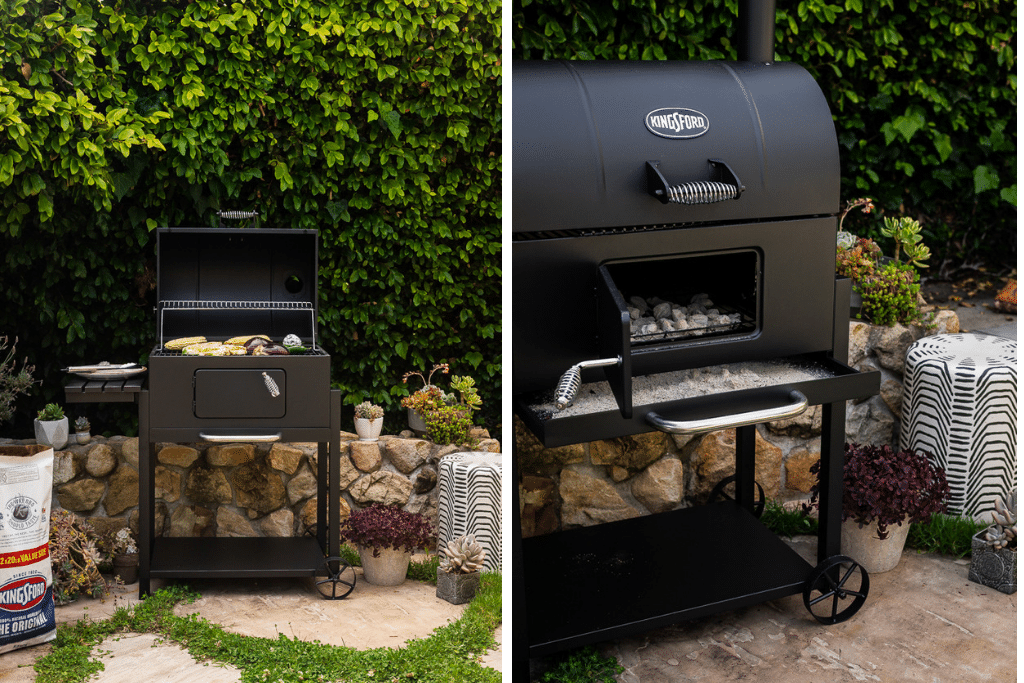 A charcoal grill with vegetables grilling on it