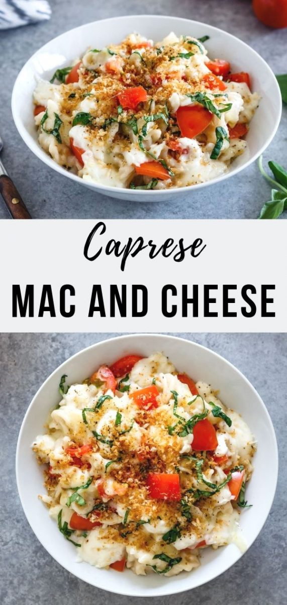 Enjoy caprese mac and cheese, a summer indulgence to swoon over, starring hand torn fresh mozzarella, ripe tomatoes and ribbons of basil. #macandcheese #comfortfood #meatless #dinner