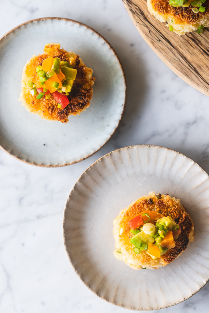 corn fritters on appetizer plates