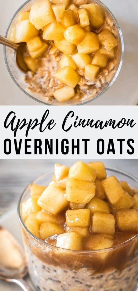 These easy apple cinnamon overnight oats are healthy and vegan, but you'll feel like you're eating apple pie for breakfast! The perfect simple make-ahead breakfast #brunch #breakfastrecipes #veganrecipes #mealprep