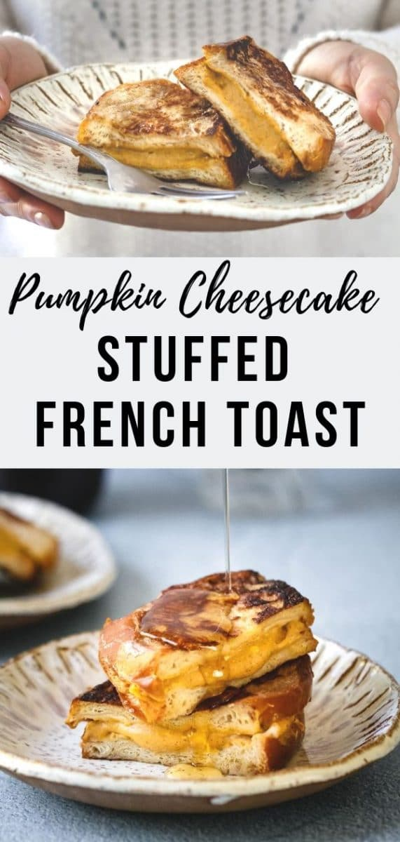 This Pumpkin Cheesecake Stuffed French Toast is a fluffy French toast sandwich with a creamy, pumpkin spiced cheesecake filling inside. Amazing, right? The perfect brunch or breakfast treat for lazy weekends #cheesecake #fallrecipes #pumpkinspice #brunch #breakfast