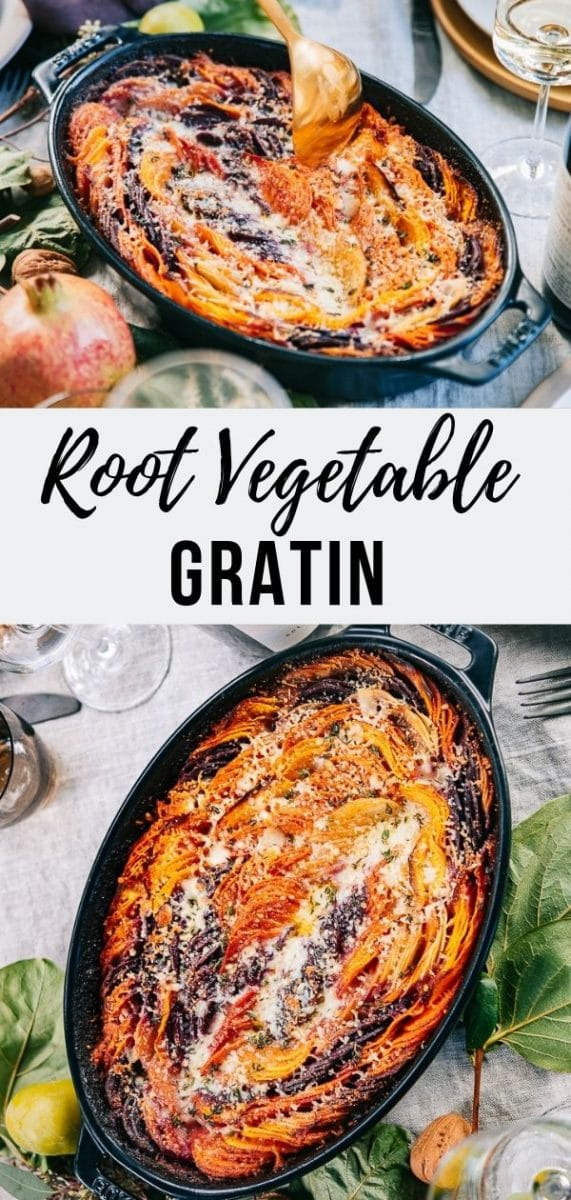 This vertically layered Root Vegetable Gratin, featuring vegetables in vibrant autumnal shades, is a noteworthy and unforgettable side dish perfect for any fall dinner or Thanksgiving table. #side #vegetables #gratin #thanksgiving #fallrecipes