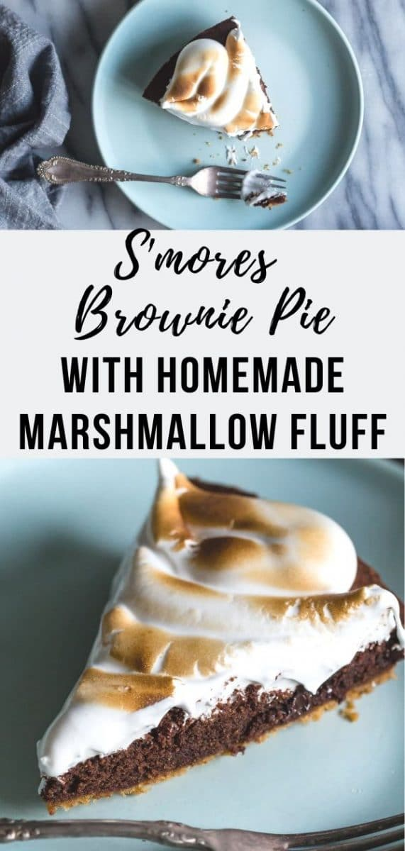 Indulge in a S'mores Brownie Pie made with homemade marshmallow fluff, a layer of decadent chocolate brownie and a graham cracker crust. The perfect decadent dessert for dinner parties and holiday gatherings #dessert #smores #pie #pierecipes #marshmallow