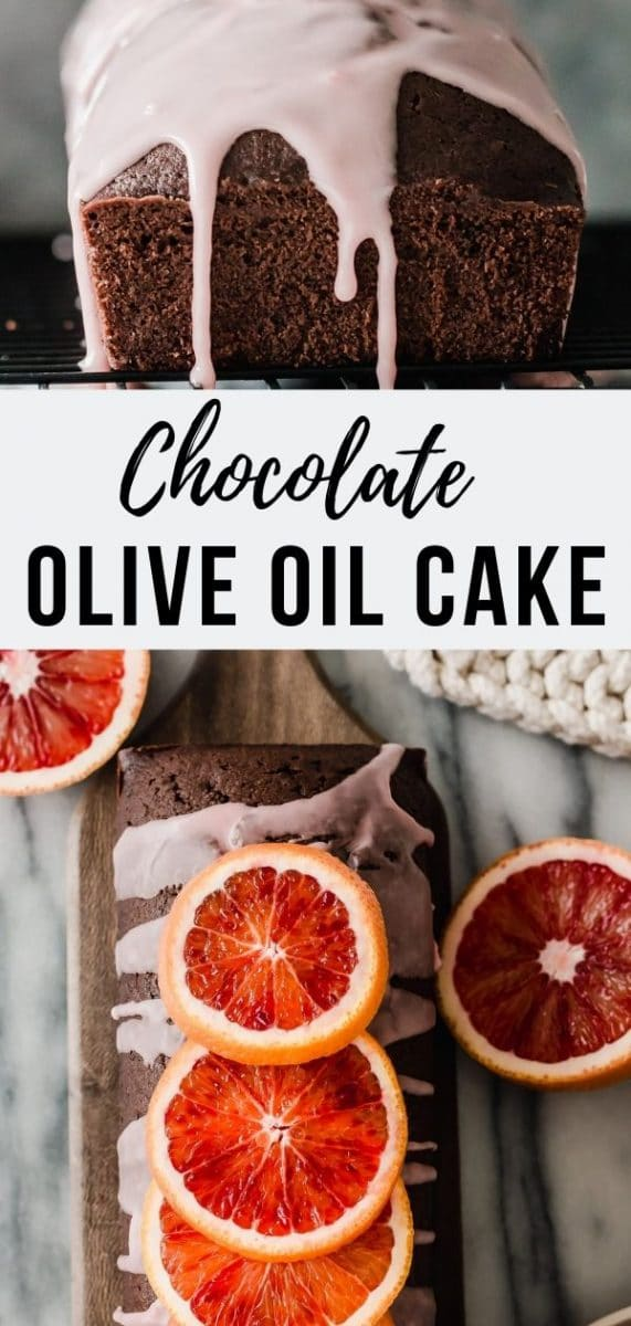 Chocolate Olive Oil Cake with Blood Orange Glaze. This rich chocolate cake comes with a touch of tart sweetness from the citrus glaze - perfect topping to balance the dark, bittersweet chocolate. Olive oil makes this cake extra moist and adds health benefits #cakerecipes #easyrecipes #loafcake #fallbaking
