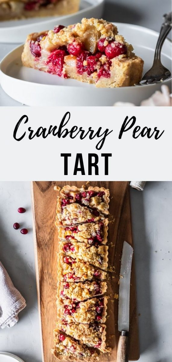Homemade Cranberry Pear Tart | If you're looking for a festive cranberry dessert that will knock the thick, fuzzy socks off your guests this holiday season, look no further than this rustic cranberry pear tart. The best dessert to serve for Thanksgiving dinner or anytime around the holidays #dessert #fallrecipes #thanksgiving #thanksgivingdessert #fallbaking