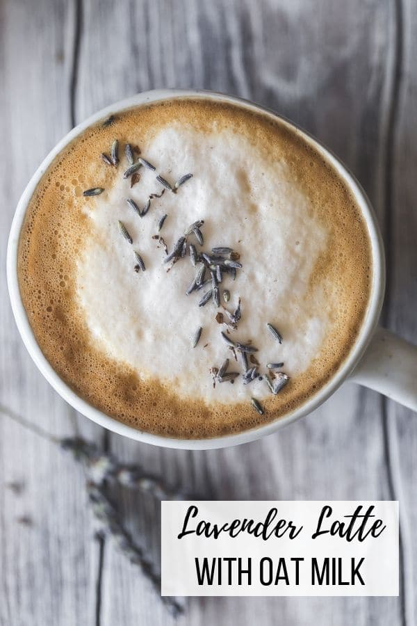 Lavender Oat Milk Latte | Treat yourself to a relaxing morning with a calming homemade lavender latte, made with a homemade lavender simple syrup and topped with frothy oat milk. Better than anything you get at Starbucks and so easy! #breakfast #brunch #dairyfree #latte