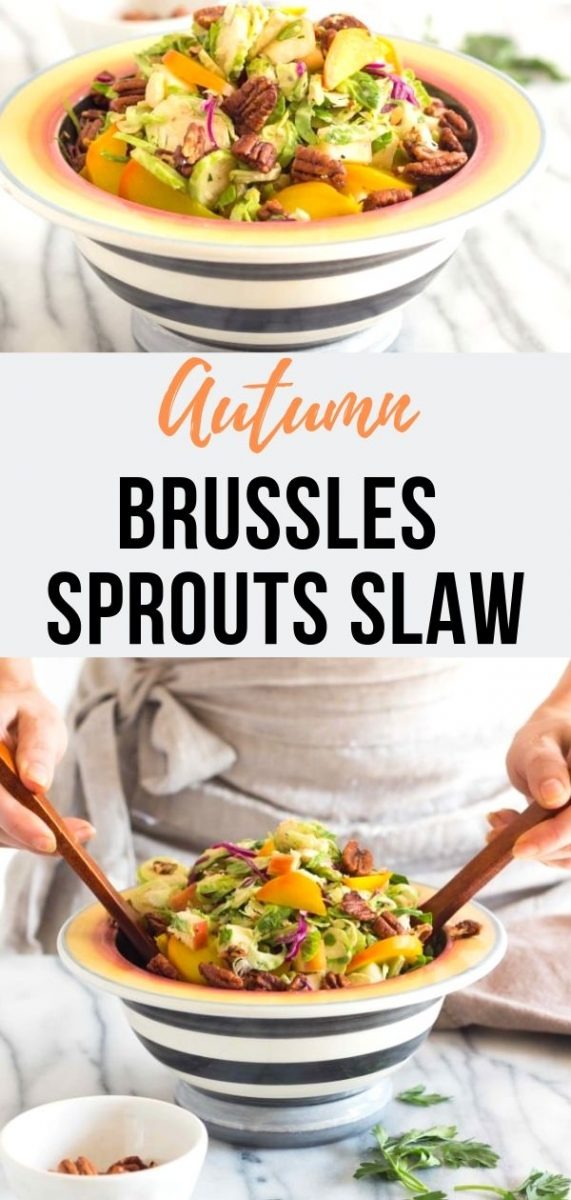 This crisp Healthy Autumn Brussels Sprout Slaw is tossed in a sweet apple vinaigrette and has all the fall flavors you crave. The best clean eating and low carb side dish for your Thanksgiving table #cleaneating #glutenfree #saladrecipes #sugarfree #lowcarb