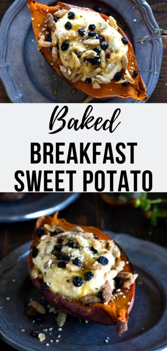 Once you discover how magical Baked Breakfast Sweet Potatoes are you will never go back to any other breakfast. Soft, warm sweet potatoes are the perfect canvas for all sorts of breakfast toppings, like this fall version with yogurt, currants, pepitas, hemp seeds and honey. Healthy and nourishing! Perfect for the holidays #breakfast #brunch #fallrecipes #cleaneating #fallflavors