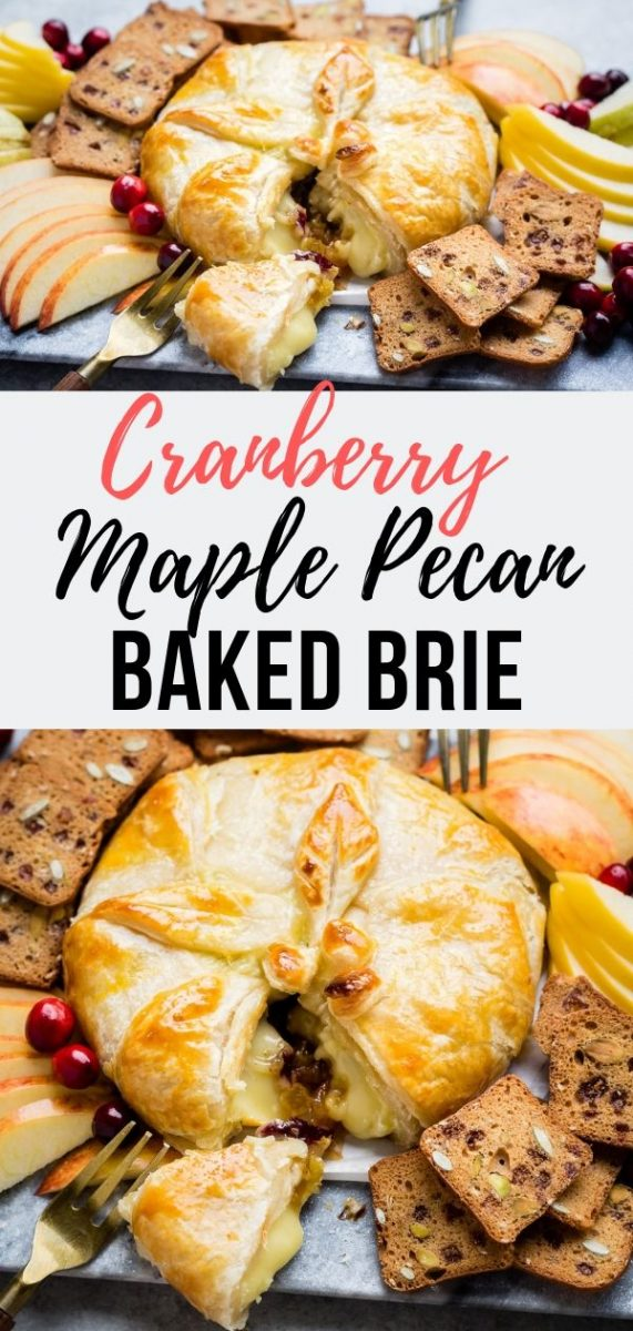 Cranberry Maple Pecan Baked Brie | This stunning Stuffed Baked Brie in puff pastry is an easy yet impressive appetizer that's perfect for the holidays. Serve it as a starter for Thanksgiving or Christmas #thanksgiving #dinner #christmas #fallrecipes #appetizer