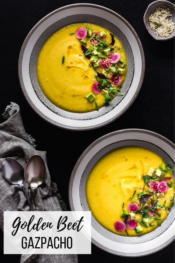 Golden beet gazpacho is a vibrant, sun-hued chilled Spanish soup, made even more delicious by a plethora of seasonal toppings. The perfect light summer lunch that can easily be made in advance #appetizer #meatless #souprecipes #healthyrecipes