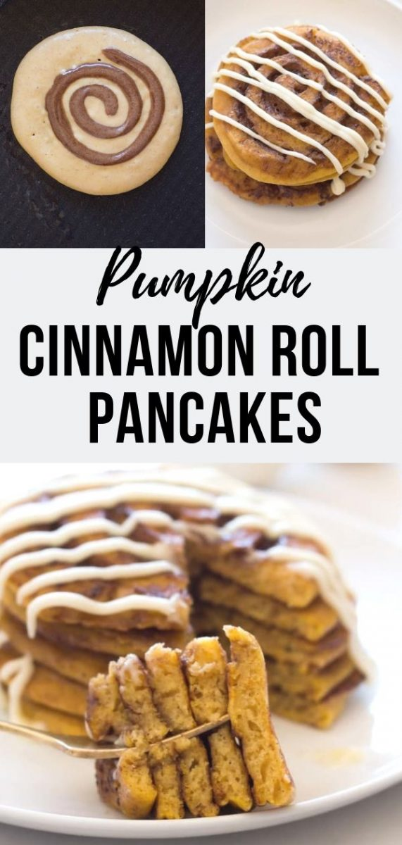 These Pumpkin Cinnamon Roll Pancakes are a gluten free indulgence, infused with a luxurious cinnamon swirl and topped with cream cheese icing! #breakfast #brunch #pancakes #cinnamonroll #pumpkinspice