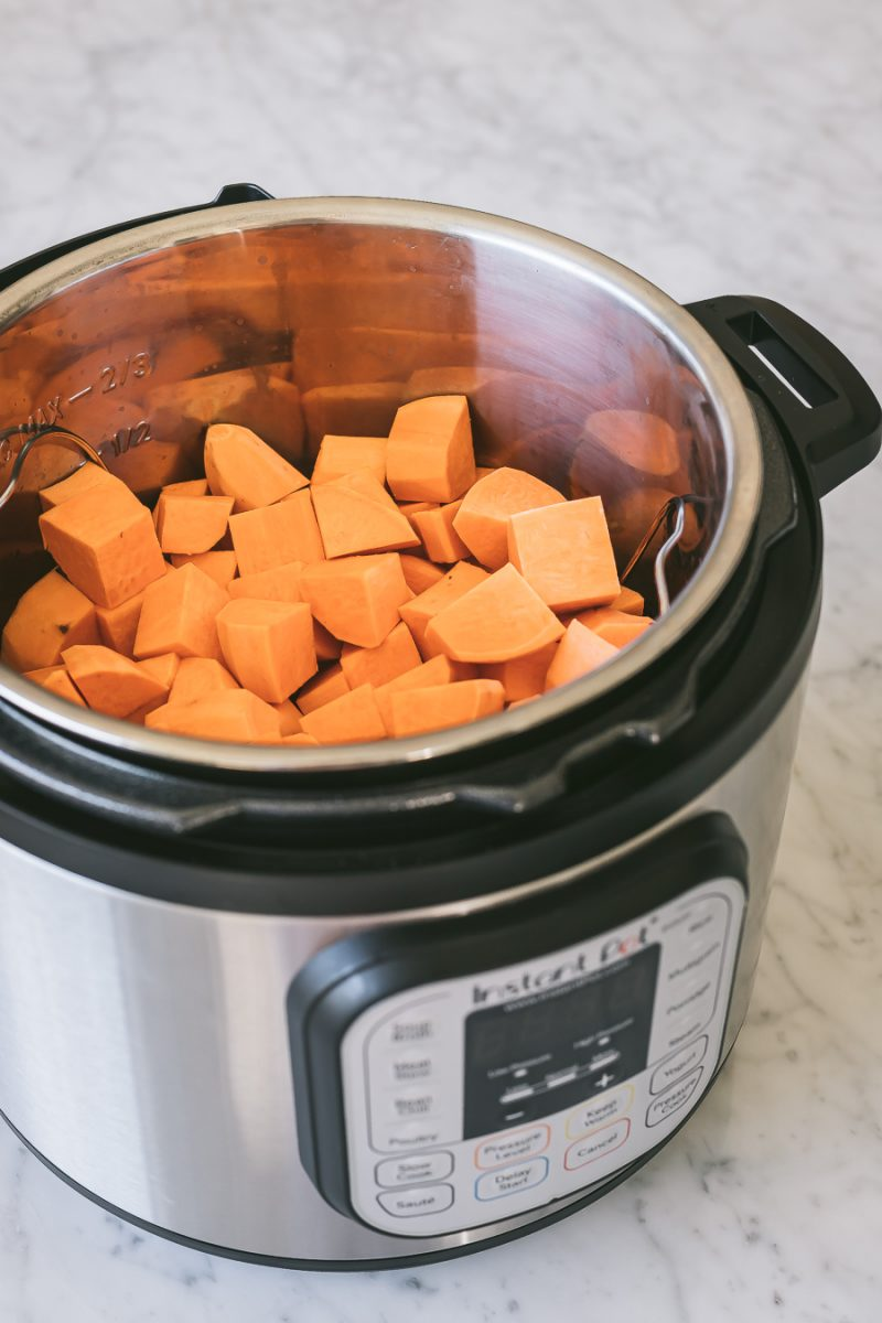 cubed sweet potatoes inside an Instant Pot