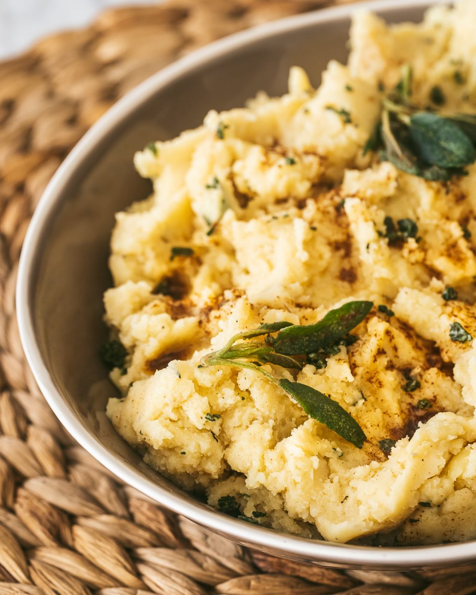 browned butter herb mashed potatoes with sage and thyme