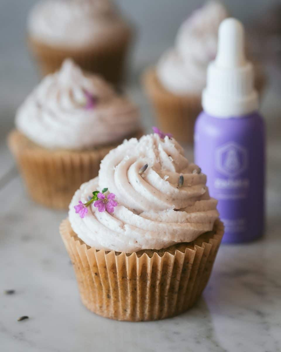 vegan earl grey cupcakes on a marble surface