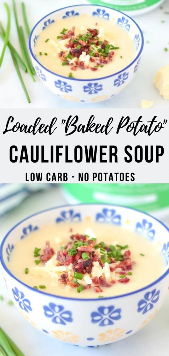 A hearty but healthy Low Carb Loaded Baked Potato Soup Recipe – no actual potatoes required thanks so secret ingredients – cauliflower and beef gelatin! An easy healthy weeknight dinner - top it with bacon and cheddar cheese for the full baked potato experience #lowcarb #potatosoup #cauliflowersoup #souprecipes #cleaneating