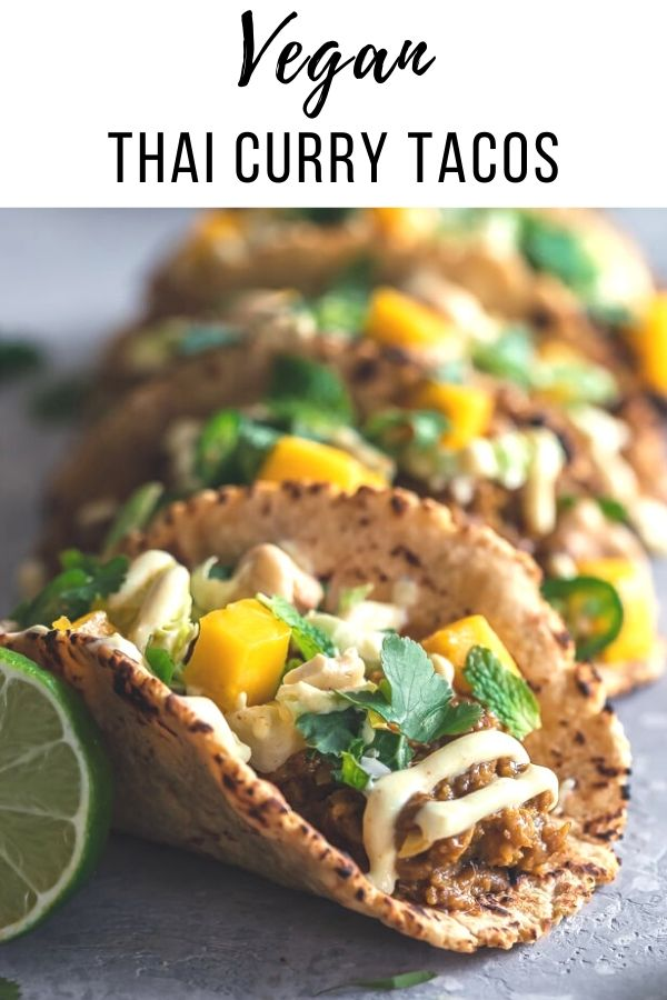 Thai Curry Tacos are vegan fusion food at it's finest, and they're fast and simple to prepare, making them the ultimate quick and flavorful weeknight meal. #veganrecipes #tacos #vegan #healthy #cleaneating