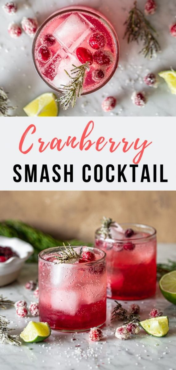 This refreshing Cranberry Smash Cocktail is an easy and festive holiday beverage made with cranberry sauce , gin and a homemade rosemary simple syrup. Serve it for Thanksgiving or Christmas Brunch #cocktailrecipes #christmasrecipes #thanksgivingrecipes #cranberryrecipes #drinks
