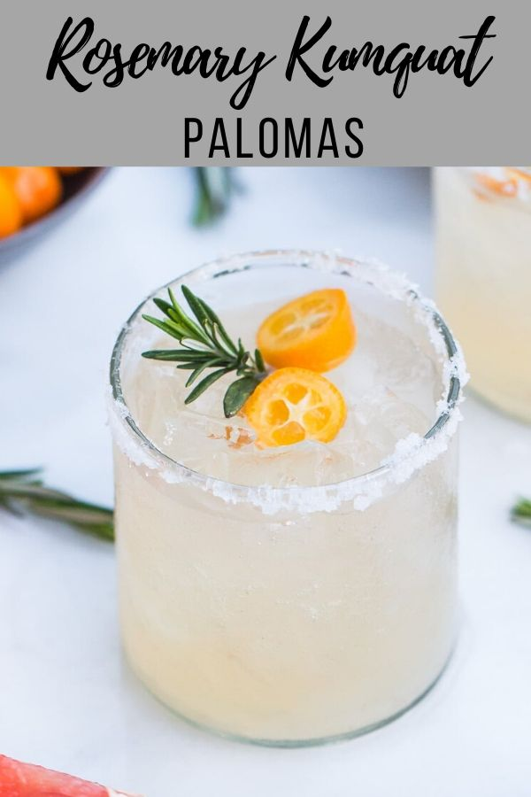 Try this Rosemary Kumquat Paloma, a refreshing take on the classic tequila and grapefruit based paloma cocktail recipe, elevated with rosemary simple syrup and muddled kumquats. The perfect citrus cocktail for 5 de mayo or any taco tuesday #cocktailrecipes #grapefruit #cocktail #happyhour #partydrinks