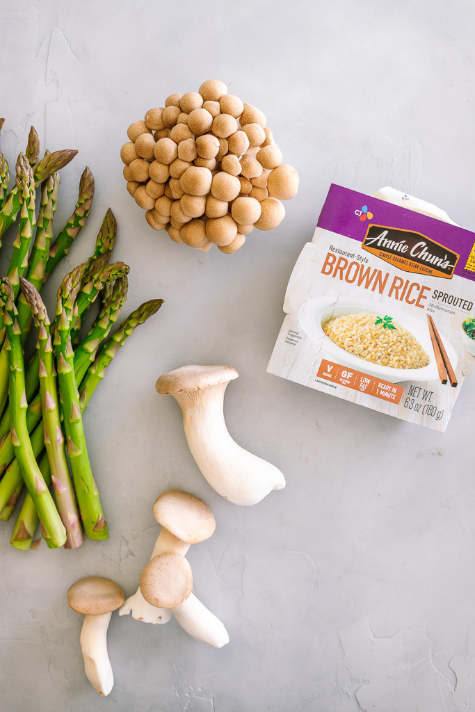 mushrooms, asparagus and a package of sprouted brown rice