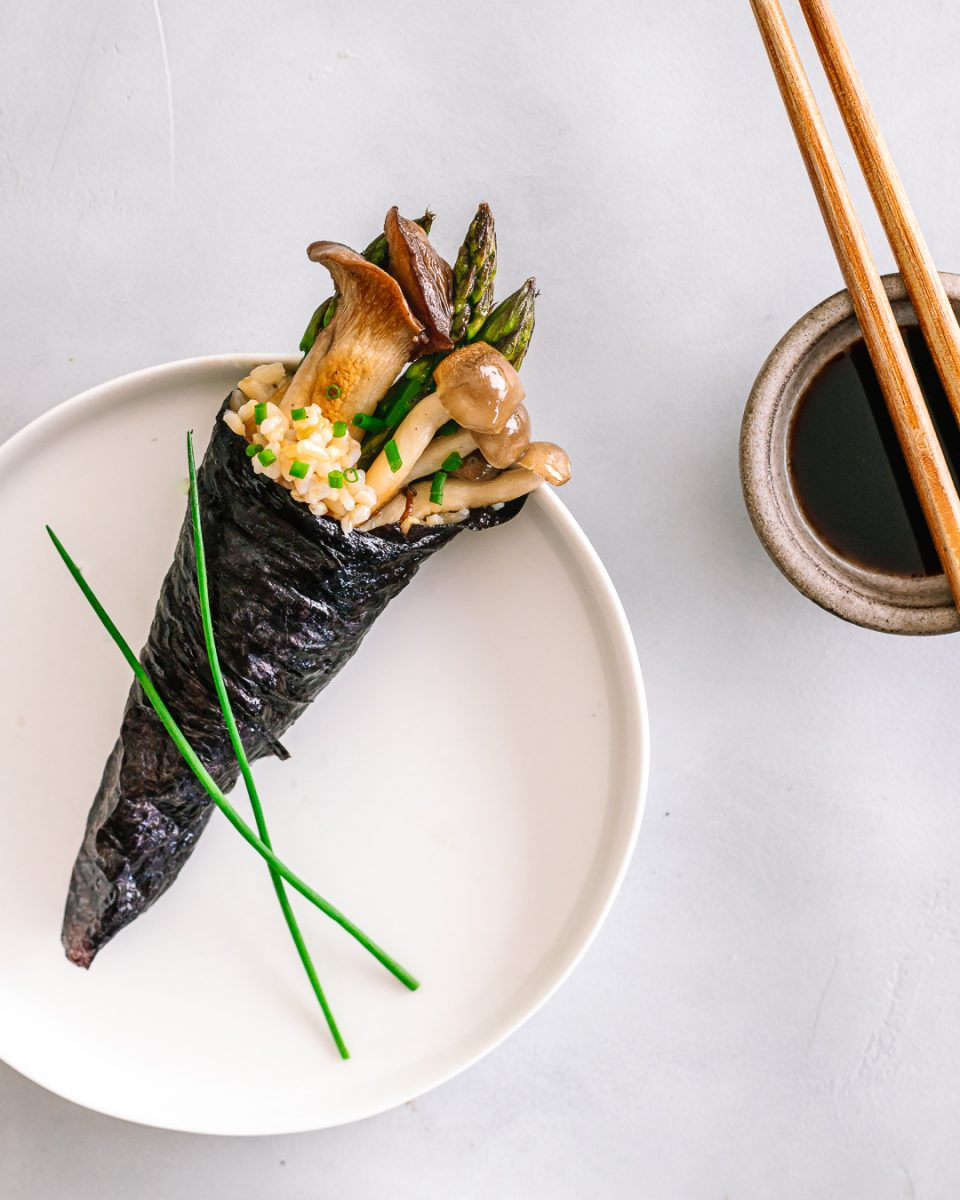 Brown Rice Vegetable Hand Roll with soy sauce