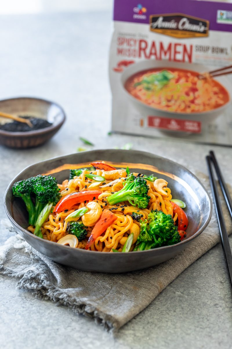 a bowl of Asian noodles with vegetables