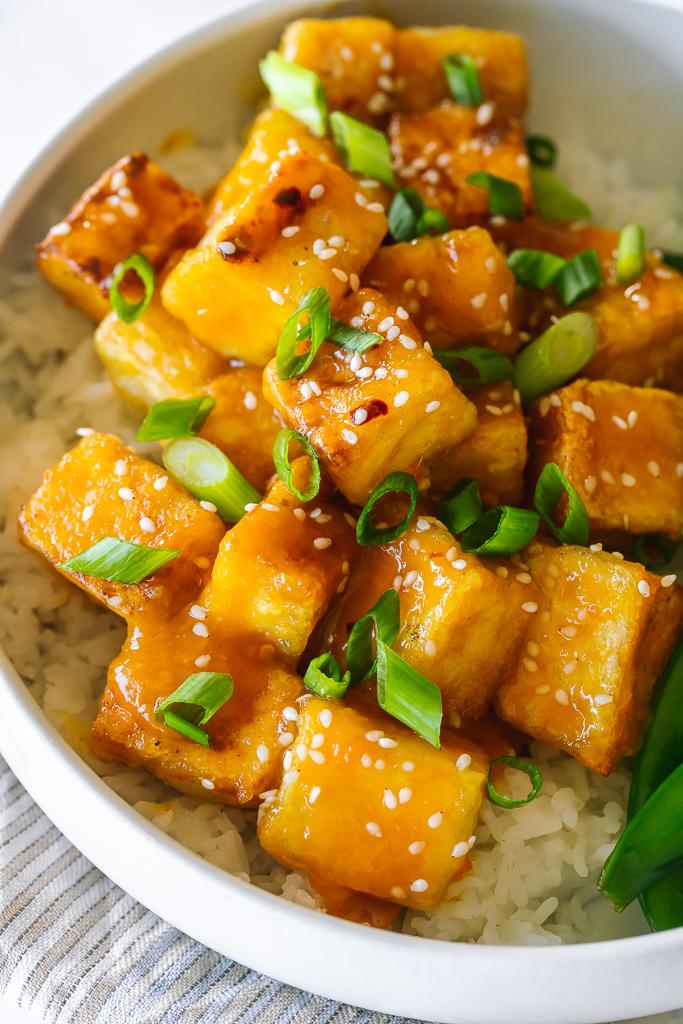 crispy tofu cubes glazed with orange sauce