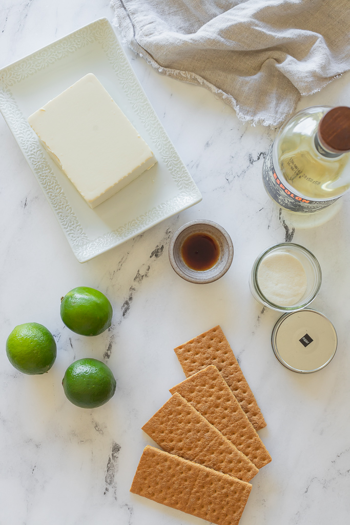 Graham crackers, tofu, limes and tequila for margarita cheesecake